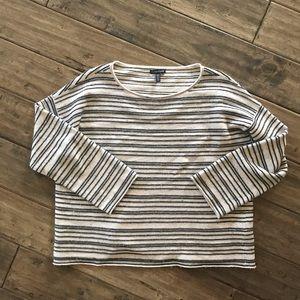 Eileen Fisher long striped gray cream sweater L